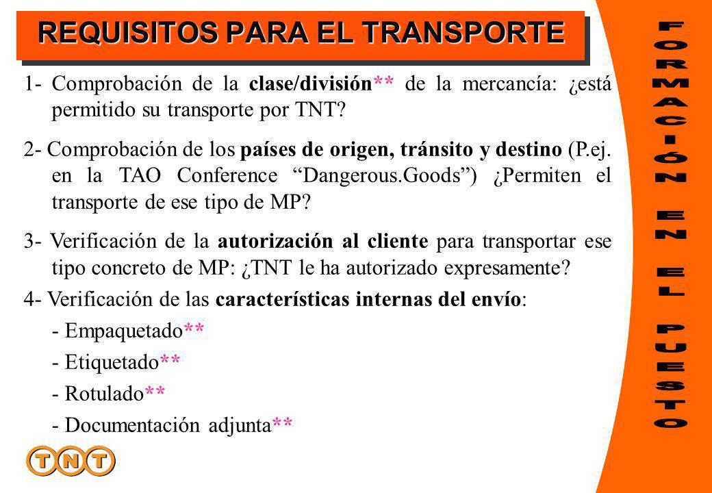 REQUISITOS PARA EL TRANSPORTE 1- Comprobación de la clase/división** de la mercancía: ¿está permitido su transporte por TNT? 2- Comprobación de los pa