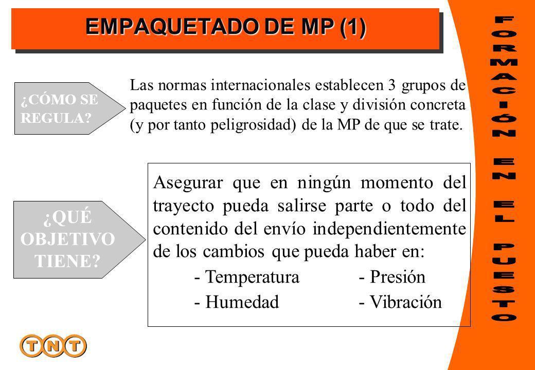 EMPAQUETADO DE MP (1) ¿QUÉ OBJETIVO TIENE? ¿CÓMO SE REGULA? Las normas internacionales establecen 3 grupos de paquetes en función de la clase y divisi