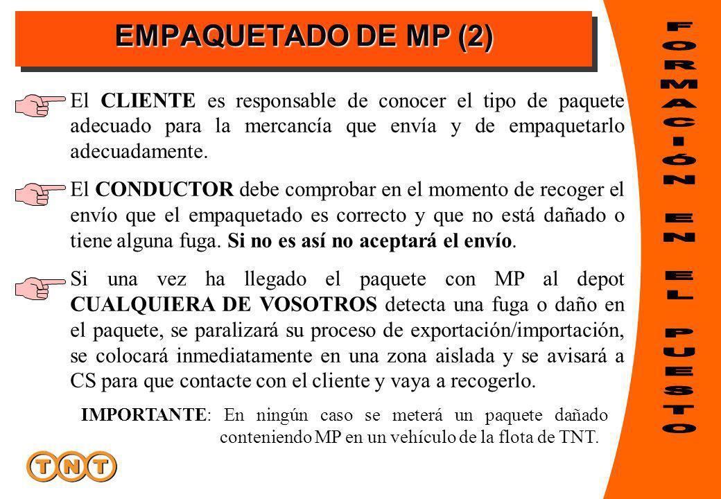 EMPAQUETADO DE MP (2) El CLIENTE es responsable de conocer el tipo de paquete adecuado para la mercancía que envía y de empaquetarlo adecuadamente. El