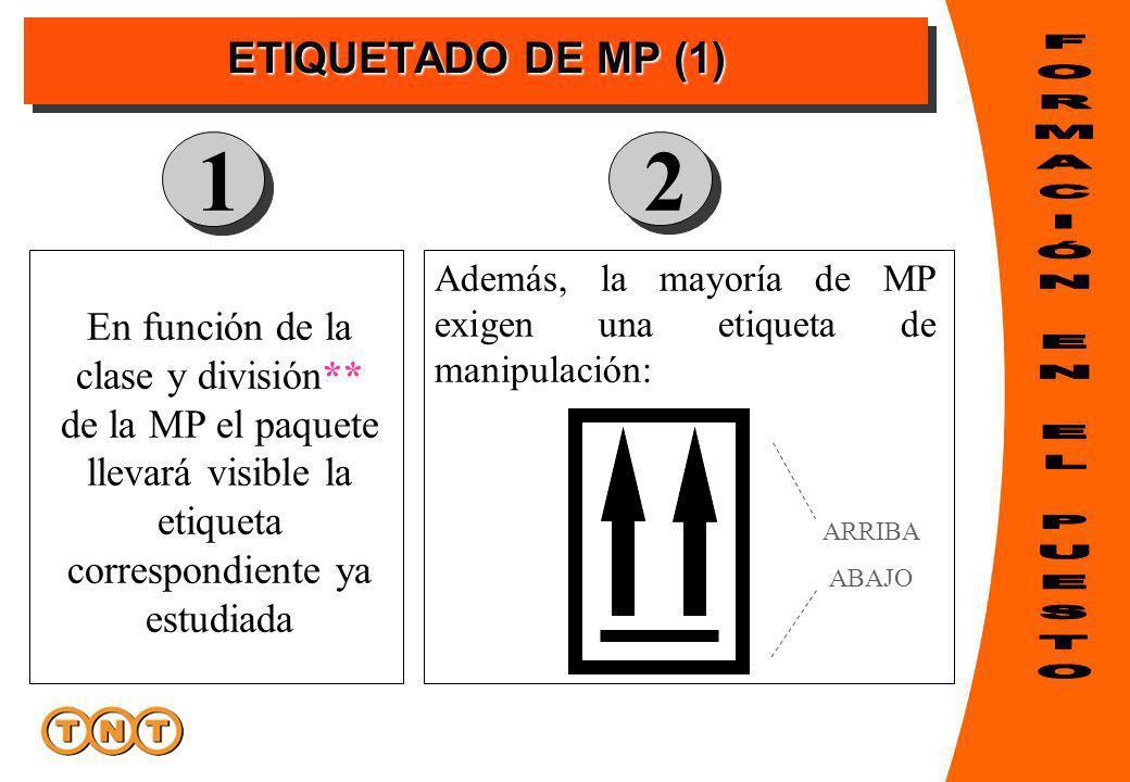 ETIQUETADO DE MP (1) En función de la clase y división** de la MP el paquete llevará visible la etiqueta correspondiente ya estudiada Además, la mayoría de MP exigen una etiqueta de manipulación: 12 ARRIBA ABAJO