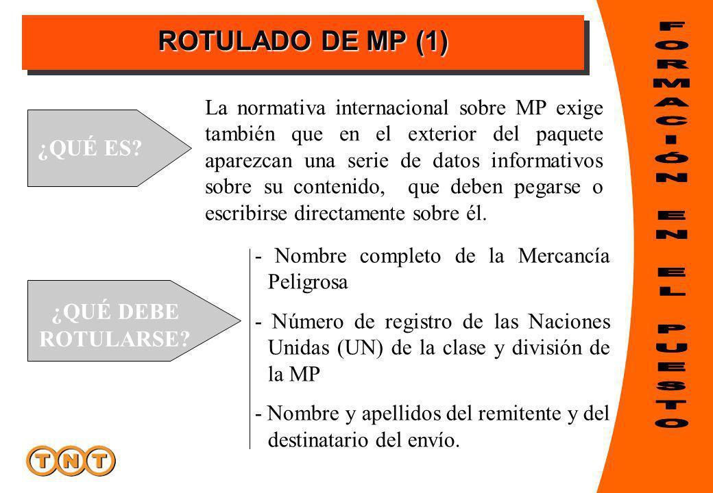ROTULADO DE MP (1) ¿QUÉ ES? La normativa internacional sobre MP exige también que en el exterior del paquete aparezcan una serie de datos informativos