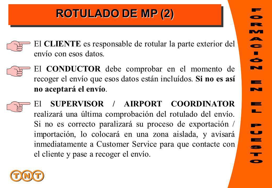 ROTULADO DE MP (2) El CLIENTE es responsable de rotular la parte exterior del envío con esos datos. El CONDUCTOR debe comprobar en el momento de recog