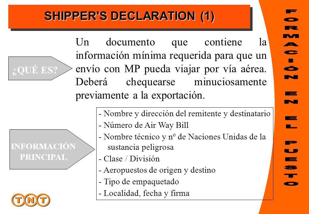 SHIPPER'S DECLARATION (1) ¿QUÉ ES? Un documento que contiene la información mínima requerida para que un envío con MP pueda viajar por vía aérea. Debe