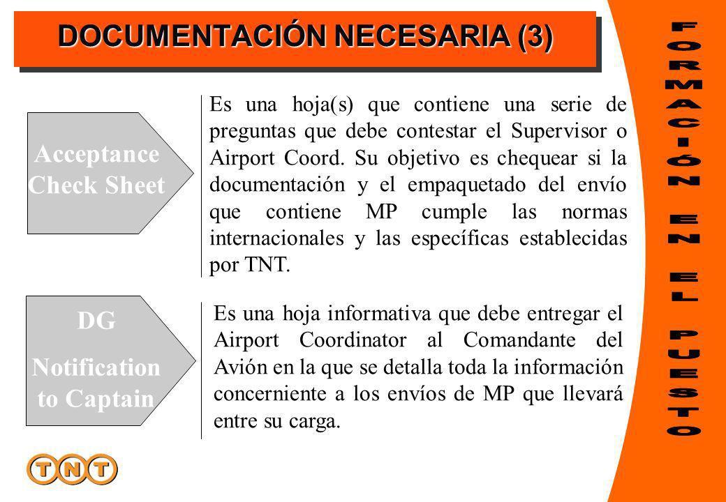 DOCUMENTACIÓN NECESARIA (3) Acceptance Check Sheet DG Notification to Captain Es una hoja(s) que contiene una serie de preguntas que debe contestar el Supervisor o Airport Coord.
