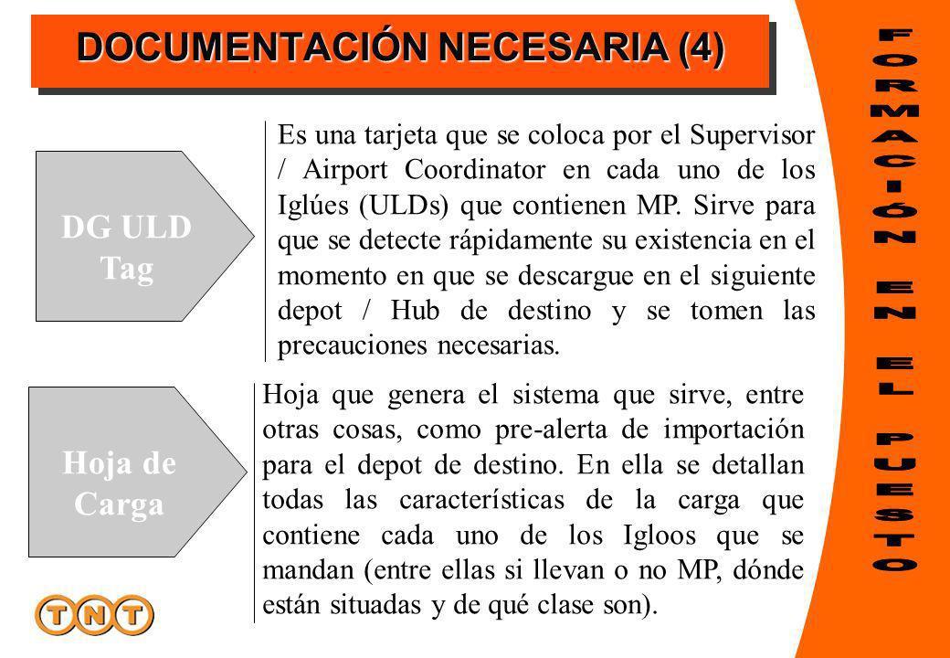 DOCUMENTACIÓN NECESARIA (4) DG ULD Tag Hoja de Carga Es una tarjeta que se coloca por el Supervisor / Airport Coordinator en cada uno de los Iglúes (ULDs) que contienen MP.
