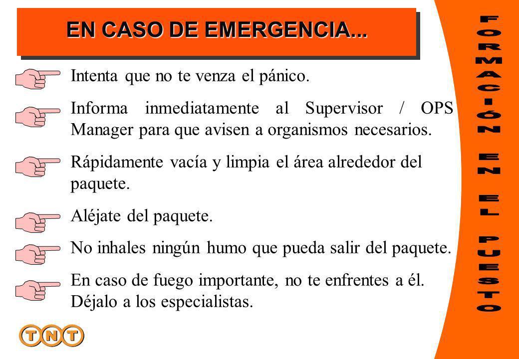EN CASO DE EMERGENCIA... Intenta que no te venza el pánico. Informa inmediatamente al Supervisor / OPS Manager para que avisen a organismos necesarios