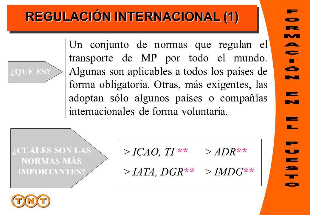 REGULACIÓN INTERNACIONAL (1) ¿QUÉ ES? Un conjunto de normas que regulan el transporte de MP por todo el mundo. Algunas son aplicables a todos los país