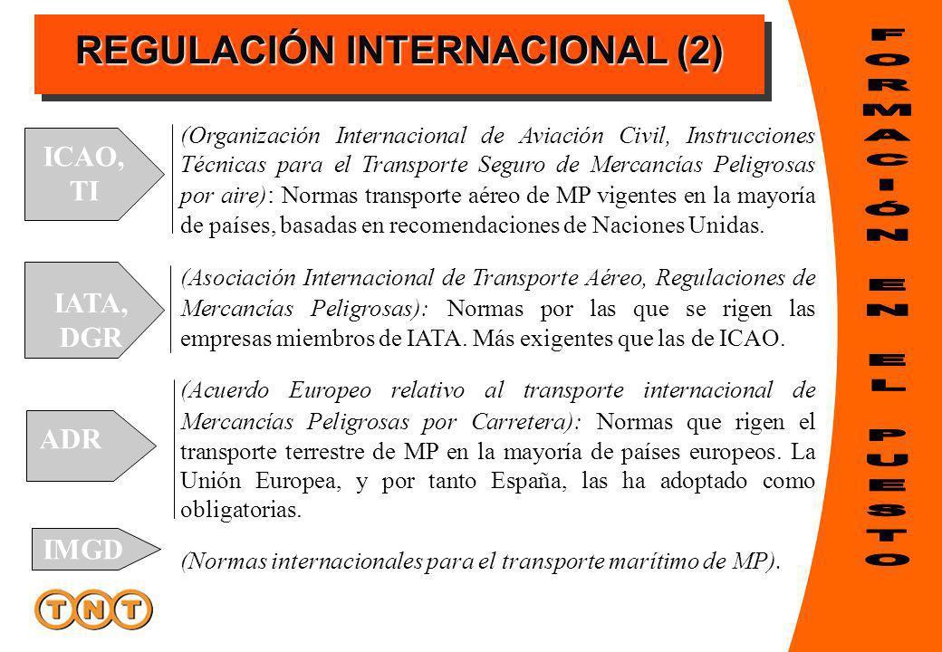 REGULACIÓN INTERNACIONAL (2) (Organización Internacional de Aviación Civil, Instrucciones Técnicas para el Transporte Seguro de Mercancías Peligrosas por aire) : Normas transporte aéreo de MP vigentes en la mayoría de países, basadas en recomendaciones de Naciones Unidas.