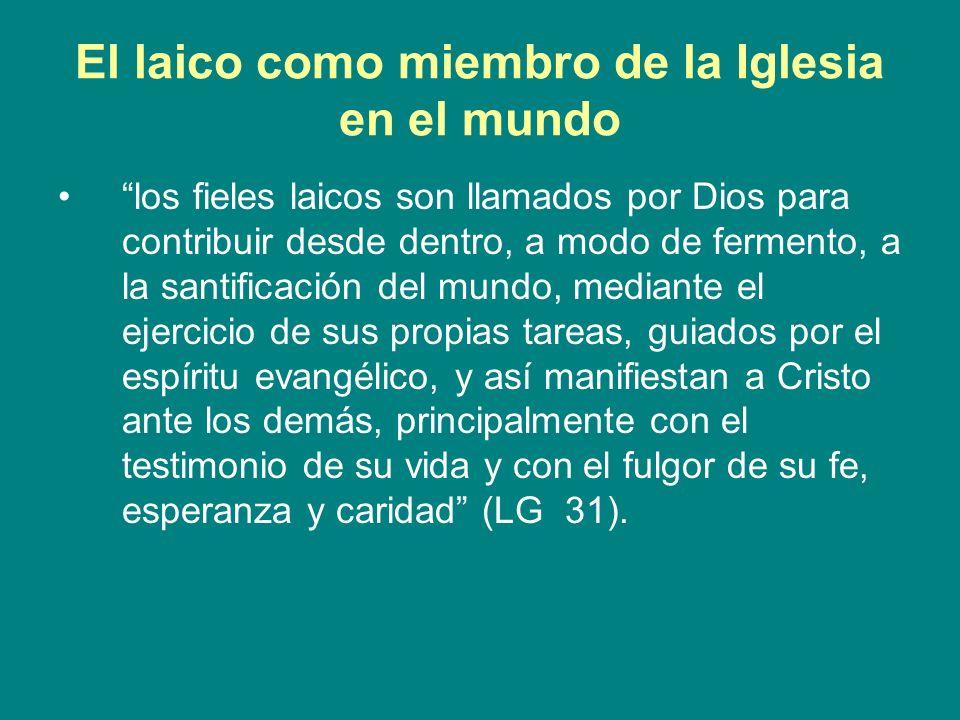 El laico como miembro de la Iglesia en el mundo los fieles laicos son llamados por Dios para contribuir desde dentro, a modo de fermento, a la santifi