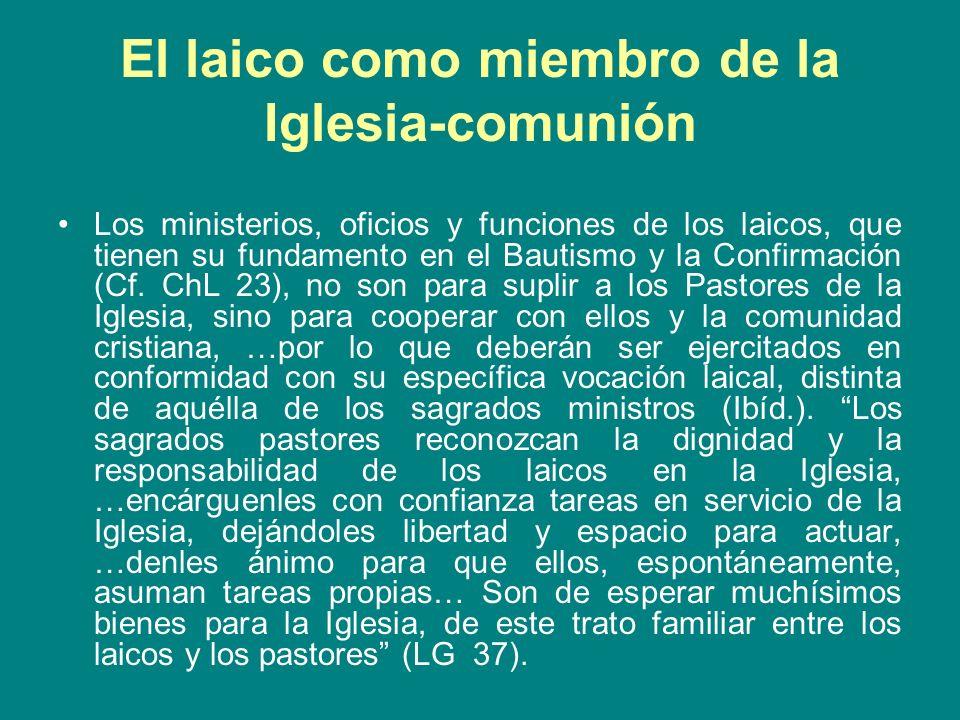 El laico como miembro de la Iglesia en el mundo La palabra de Dios es perfectamente clara en la necesidad de que los laicos realicen su labor en el mundo, cuando Jesús habla de ser sal y luz de la tierra (Mt 5,13-16).