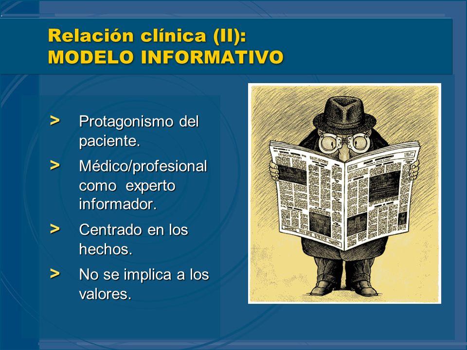 Relación clínica (II): MODELO INFORMATIVO > Protagonismo del paciente. > Médico/profesional como experto informador. > Centrado en los hechos. > No se