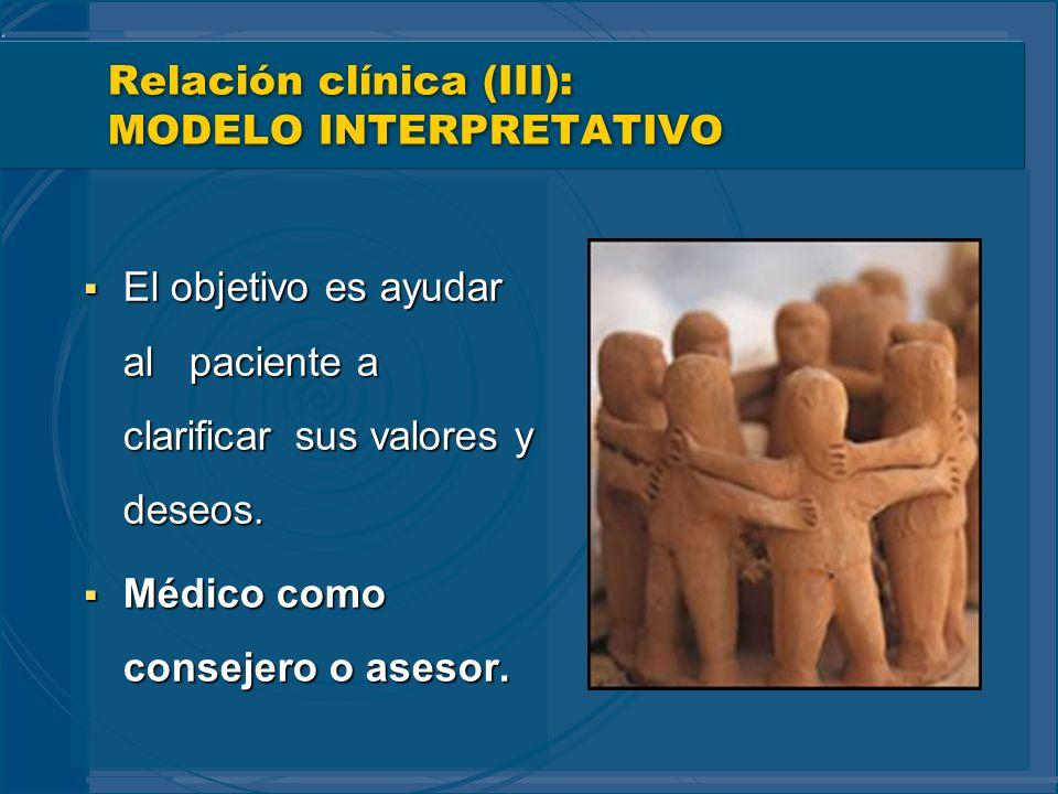 Relación clínica (III): MODELO INTERPRETATIVO El objetivo es ayudar al paciente a clarificar sus valores y deseos. El objetivo es ayudar al paciente a