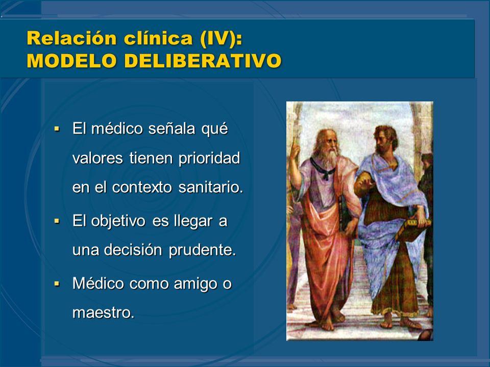Relación clínica (IV): MODELO DELIBERATIVO El médico señala qué valores tienen prioridad en el contexto sanitario. El médico señala qué valores tienen