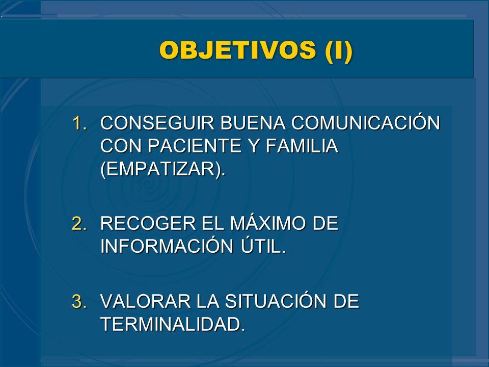 OBJETIVOS (I) 1.CONSEGUIR BUENA COMUNICACIÓN CON PACIENTE Y FAMILIA (EMPATIZAR). 2.RECOGER EL MÁXIMO DE INFORMACIÓN ÚTIL. 3.VALORAR LA SITUACIÓN DE TE