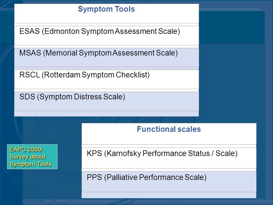 Symptom Tools ESAS (Edmonton Symptom Assessment Scale) MSAS (Memorial Symptom Assessment Scale) RSCL (Rotterdam Symptom Checklist) SDS (Symptom Distre