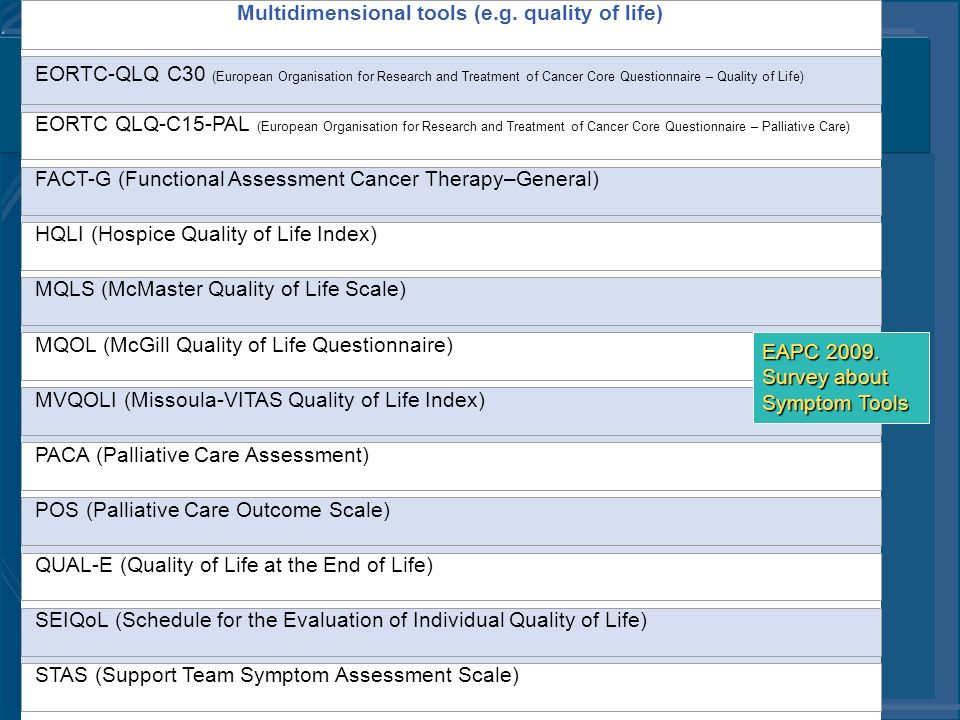 Multidimensional tools (e.g. quality of life) EORTC-QLQ C30 (European Organisation for Research and Treatment of Cancer Core Questionnaire – Quality o
