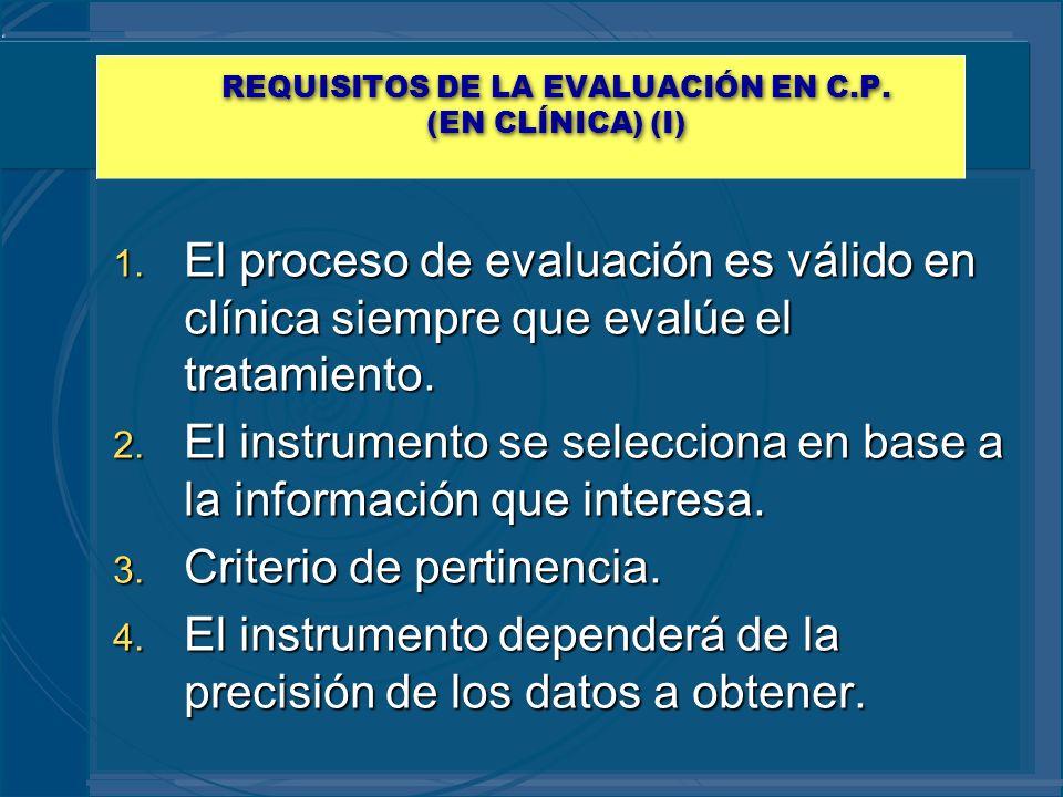 REQUISITOS DE LA EVALUACIÓN EN C.P. (EN CLÍNICA) (I) 1. El proceso de evaluación es válido en clínica siempre que evalúe el tratamiento. 2. El instrum