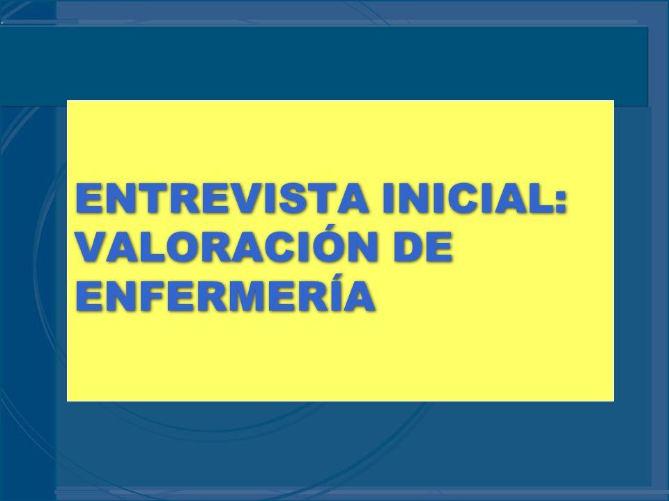 ENTREVISTA INICIAL: VALORACIÓN DE ENFERMERÍA