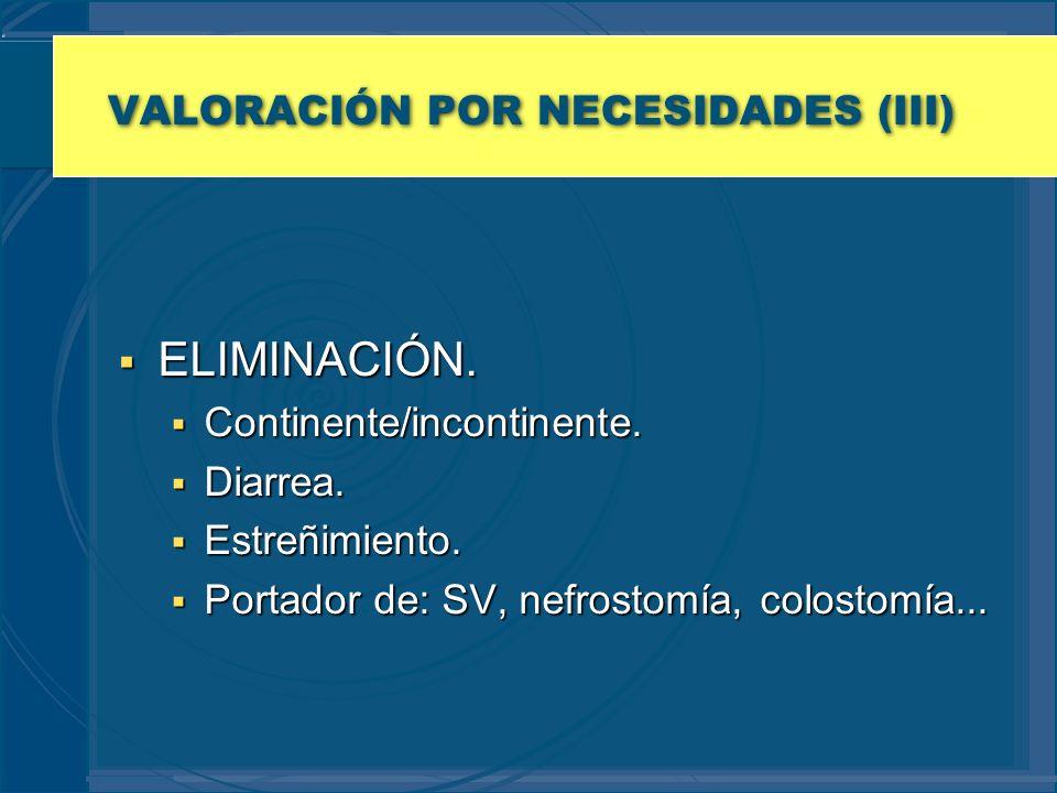 VALORACIÓN POR NECESIDADES (III) ELIMINACIÓN. ELIMINACIÓN. Continente/incontinente. Continente/incontinente. Diarrea. Diarrea. Estreñimiento. Estreñim