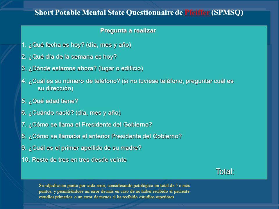 Short Potable Mental State Questionnaire de Pfeiffer (SPMSQ) Pregunta a realizar 1. ¿Qué fecha es hoy? (día, mes y año) 2. ¿Qué día de la semana es ho