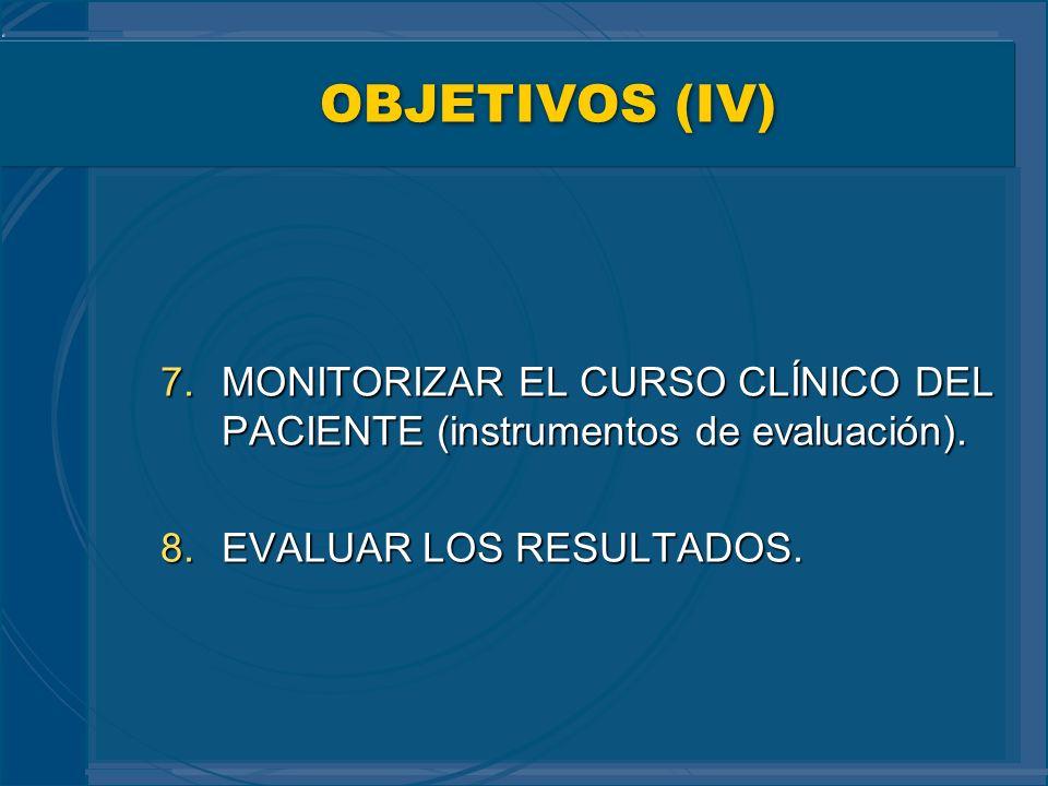OBJETIVOS (IV) 7.MONITORIZAR EL CURSO CLÍNICO DEL PACIENTE (instrumentos de evaluación). 8.EVALUAR LOS RESULTADOS.