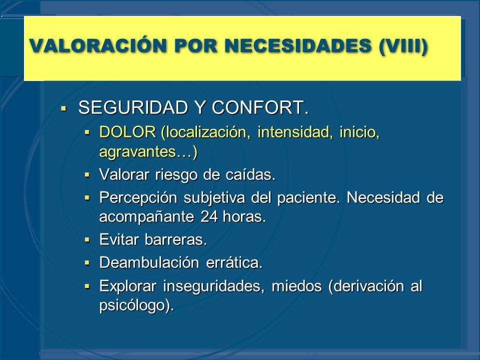 VALORACIÓN POR NECESIDADES (VIII) SEGURIDAD Y CONFORT. SEGURIDAD Y CONFORT. DOLOR (localización, intensidad, inicio, agravantes…) DOLOR (localización,