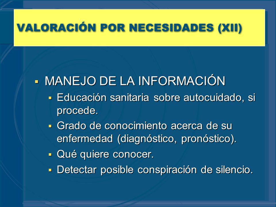 VALORACIÓN POR NECESIDADES (XII) MANEJO DE LA INFORMACIÓN MANEJO DE LA INFORMACIÓN Educación sanitaria sobre autocuidado, si procede. Educación sanita