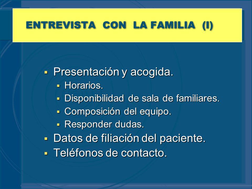 ENTREVISTA CON LA FAMILIA (I) Presentación y acogida. Presentación y acogida. Horarios. Horarios. Disponibilidad de sala de familiares. Disponibilidad