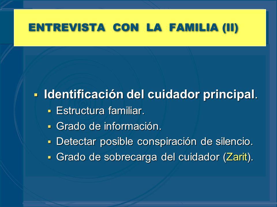 ENTREVISTA CON LA FAMILIA (II) Identificación del cuidador principal. Identificación del cuidador principal. Estructura familiar. Estructura familiar.