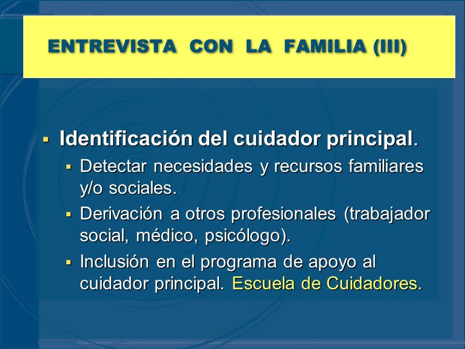 ENTREVISTA CON LA FAMILIA (III) Identificación del cuidador principal. Identificación del cuidador principal. Detectar necesidades y recursos familiar