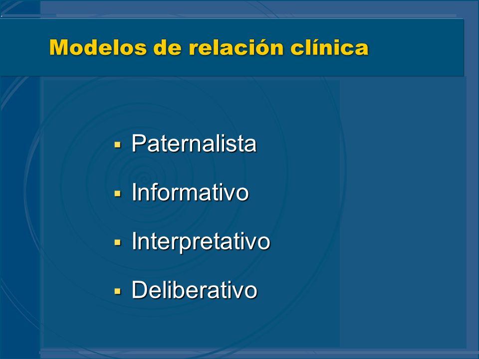 Modelos de relación clínica Paternalista Paternalista Informativo Informativo Interpretativo Interpretativo Deliberativo Deliberativo
