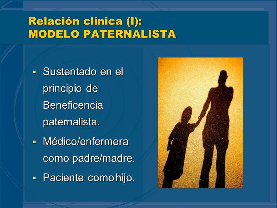 Relación clínica (I): MODELO PATERNALISTA Sustentado en el principio de Beneficencia paternalista. Sustentado en el principio de Beneficencia paternal