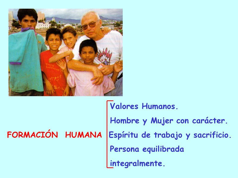Valores Humanos.Hombre y Mujer con carácter. FORMACIÓN HUMANA Espíritu de trabajo y sacrificio.