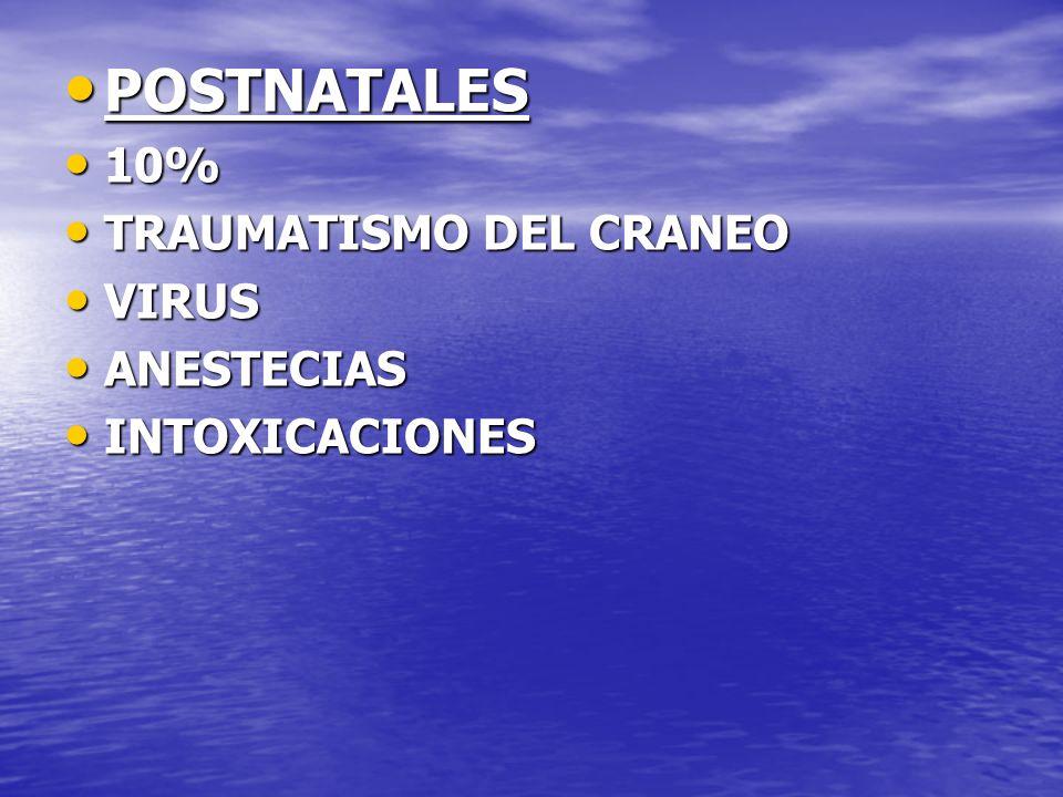 POSTNATALES POSTNATALES 10% 10% TRAUMATISMO DEL CRANEO TRAUMATISMO DEL CRANEO VIRUS VIRUS ANESTECIAS ANESTECIAS INTOXICACIONES INTOXICACIONES