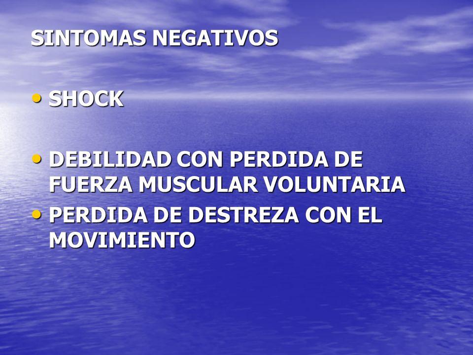 SINTOMAS NEGATIVOS SHOCK SHOCK DEBILIDAD CON PERDIDA DE FUERZA MUSCULAR VOLUNTARIA DEBILIDAD CON PERDIDA DE FUERZA MUSCULAR VOLUNTARIA PERDIDA DE DEST