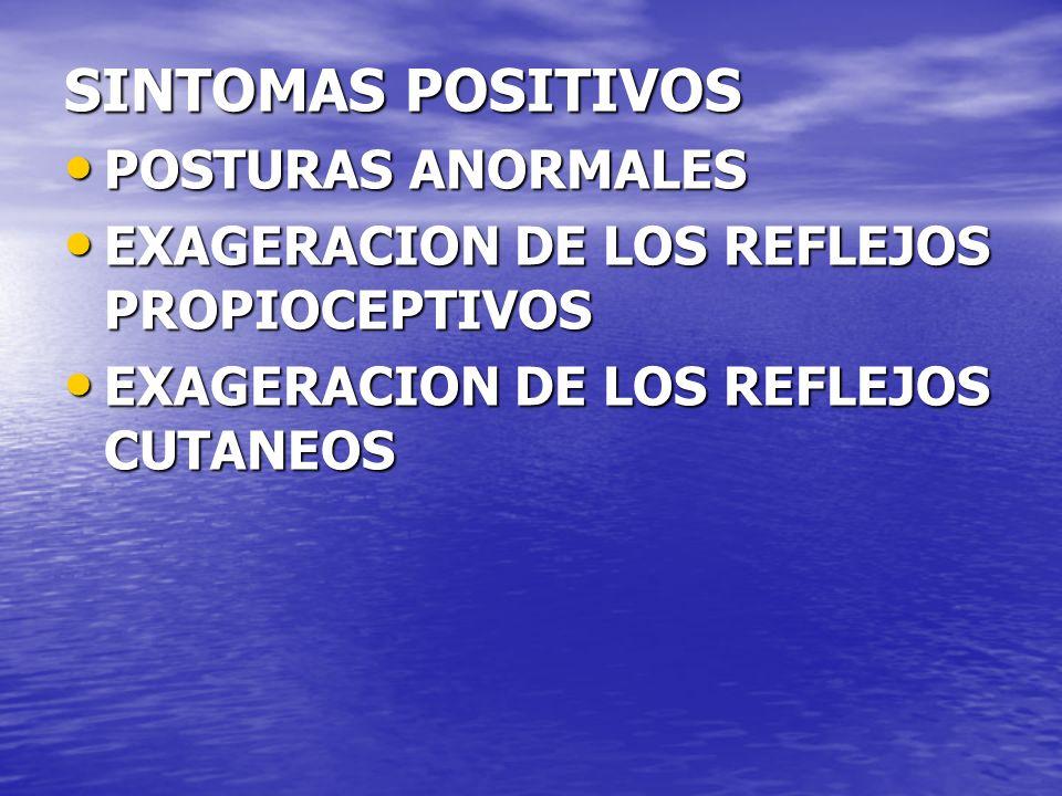 SINTOMAS POSITIVOS POSTURAS ANORMALES POSTURAS ANORMALES EXAGERACION DE LOS REFLEJOS PROPIOCEPTIVOS EXAGERACION DE LOS REFLEJOS PROPIOCEPTIVOS EXAGERA