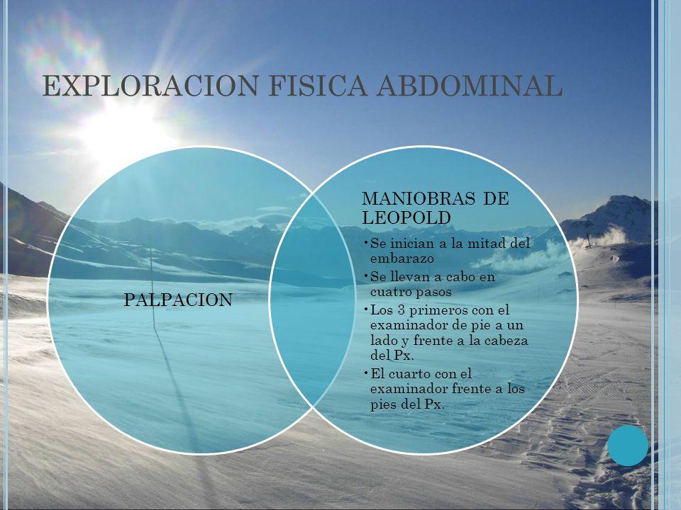 EXPLORACION FISICA ABDOMINAL PALPACION MANIOBRAS DE LEOPOLD Se inician a la mitad del embarazo Se llevan a cabo en cuatro pasos Los 3 primeros con el