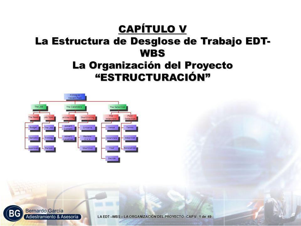 LA EDT –WBS – LA ORGANIZACIÓN DEL PROYECTO - CAP V- 1 de 49 CAPÍTULO V La Estructura de Desglose de Trabajo EDT- WBS La Organización del Proyecto ESTR