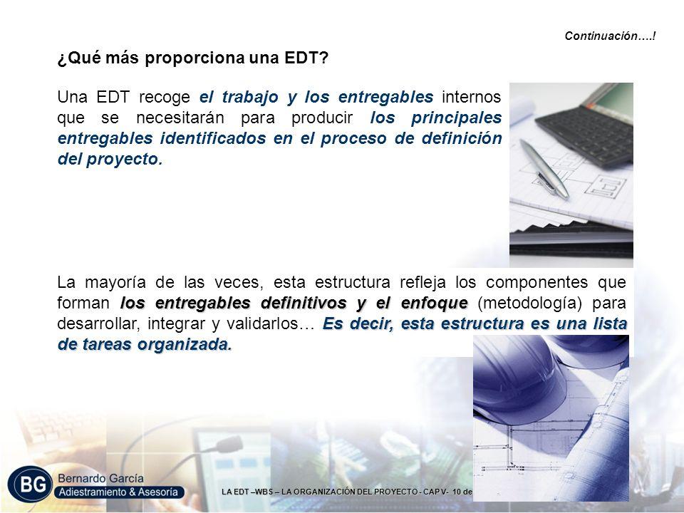 LA EDT –WBS – LA ORGANIZACIÓN DEL PROYECTO - CAP V- 10 de 49 ¿Qué más proporciona una EDT? Una EDT recoge el trabajo y los entregables internos que se