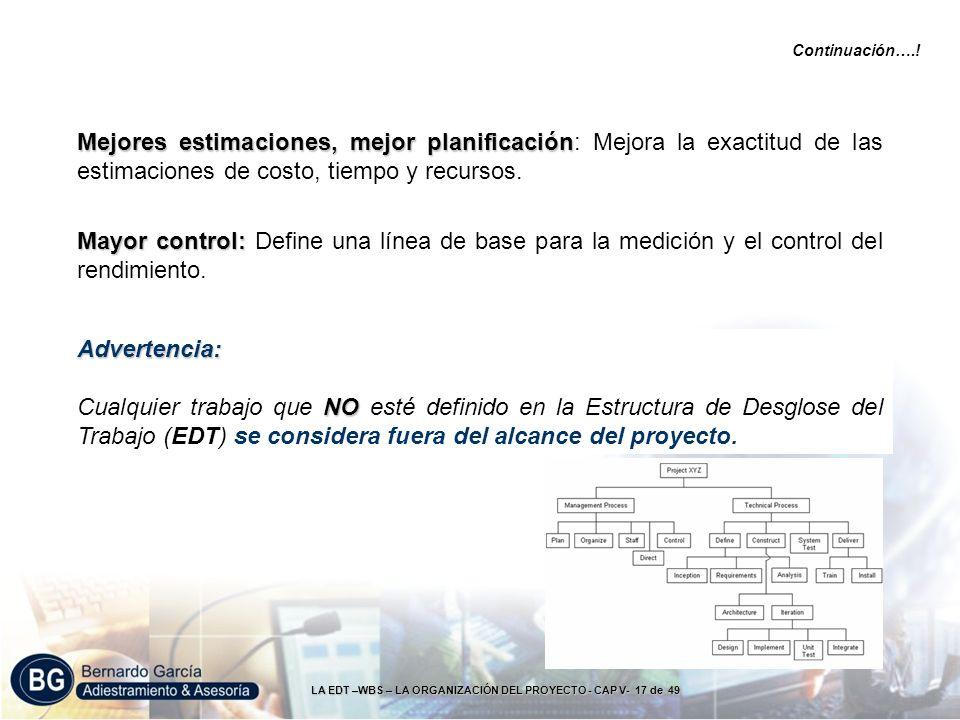 LA EDT –WBS – LA ORGANIZACIÓN DEL PROYECTO - CAP V- 17 de 49 Mejores estimaciones, mejor planificación Mejores estimaciones, mejor planificación: Mejo
