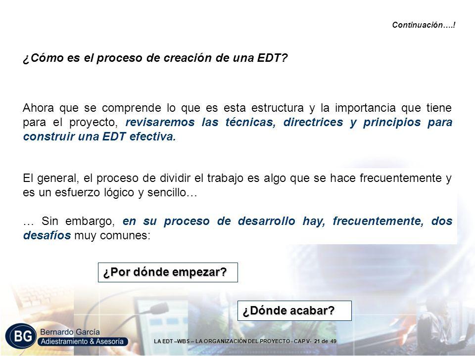 LA EDT –WBS – LA ORGANIZACIÓN DEL PROYECTO - CAP V- 21 de 49 Ahora que se comprende lo que es esta estructura y la importancia que tiene para el proye