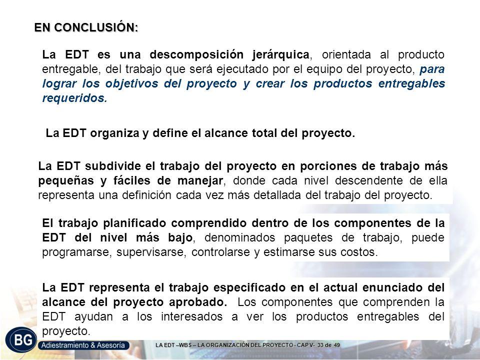 LA EDT –WBS – LA ORGANIZACIÓN DEL PROYECTO - CAP V- 33 de 49 La EDT es una descomposición jerárquica, orientada al producto entregable, del trabajo qu