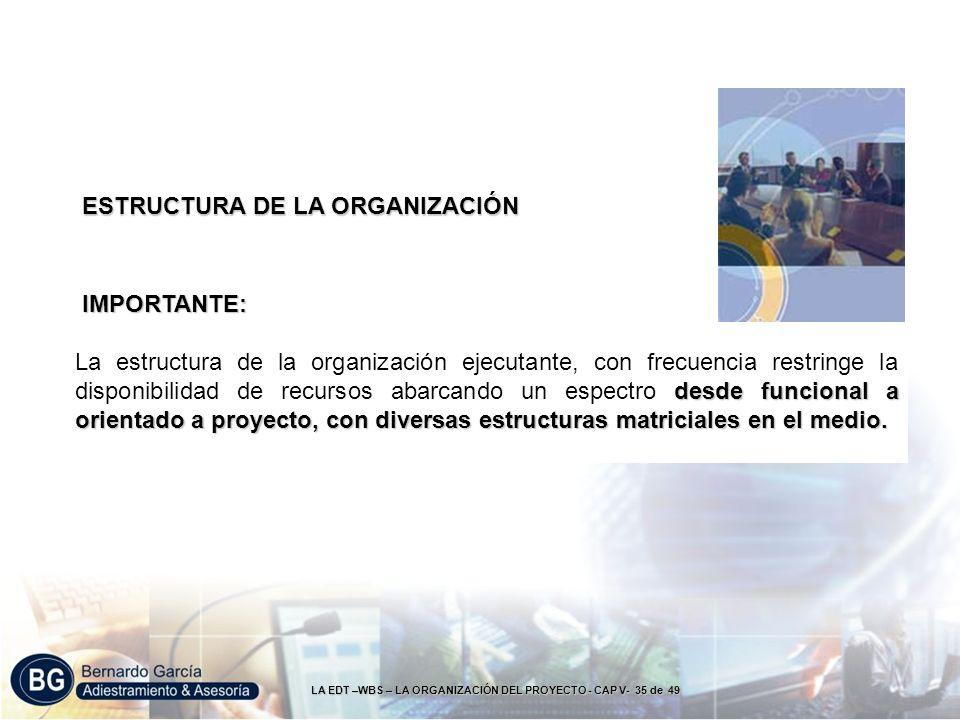 LA EDT –WBS – LA ORGANIZACIÓN DEL PROYECTO - CAP V- 35 de 49 IMPORTANTE: desde funcional a orientado a proyecto, con diversas estructuras matriciales