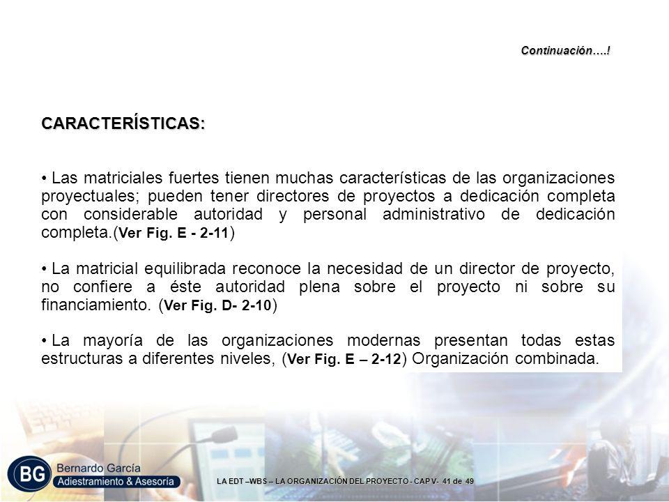LA EDT –WBS – LA ORGANIZACIÓN DEL PROYECTO - CAP V- 41 de 49 CARACTERÍSTICAS: Las matriciales fuertes tienen muchas características de las organizacio