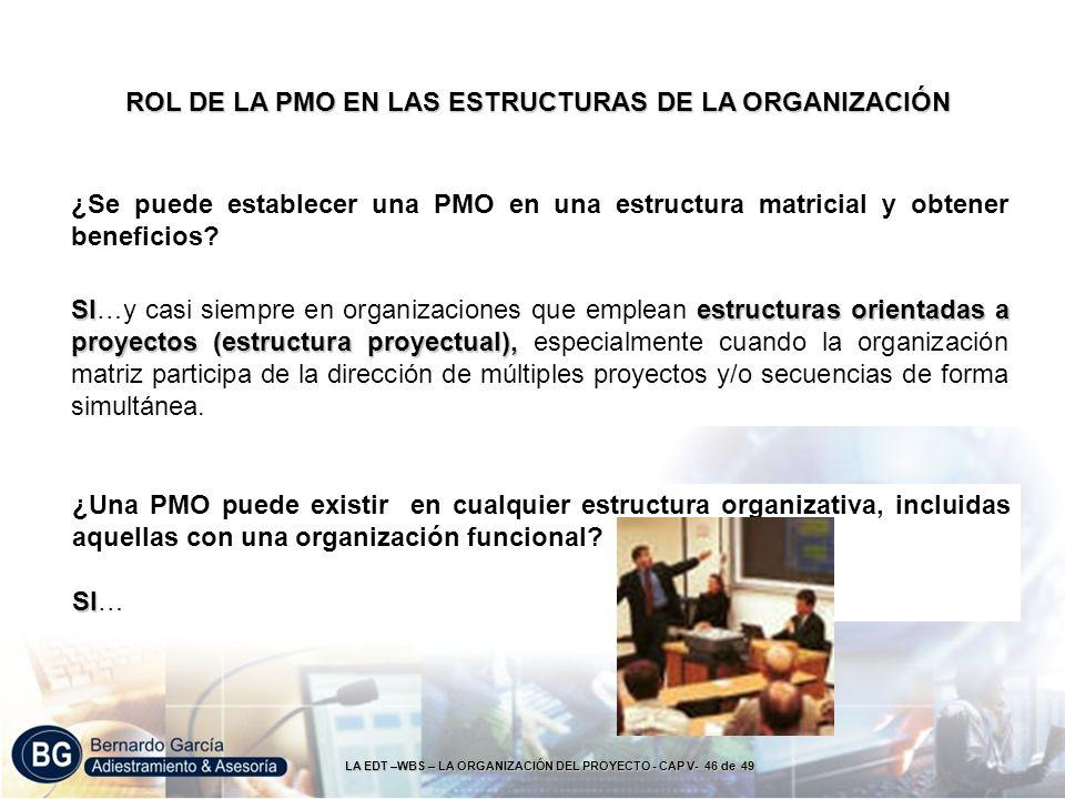 LA EDT –WBS – LA ORGANIZACIÓN DEL PROYECTO - CAP V- 46 de 49 SIestructuras orientadas a proyectos (estructura proyectual), SI…y casi siempre en organi