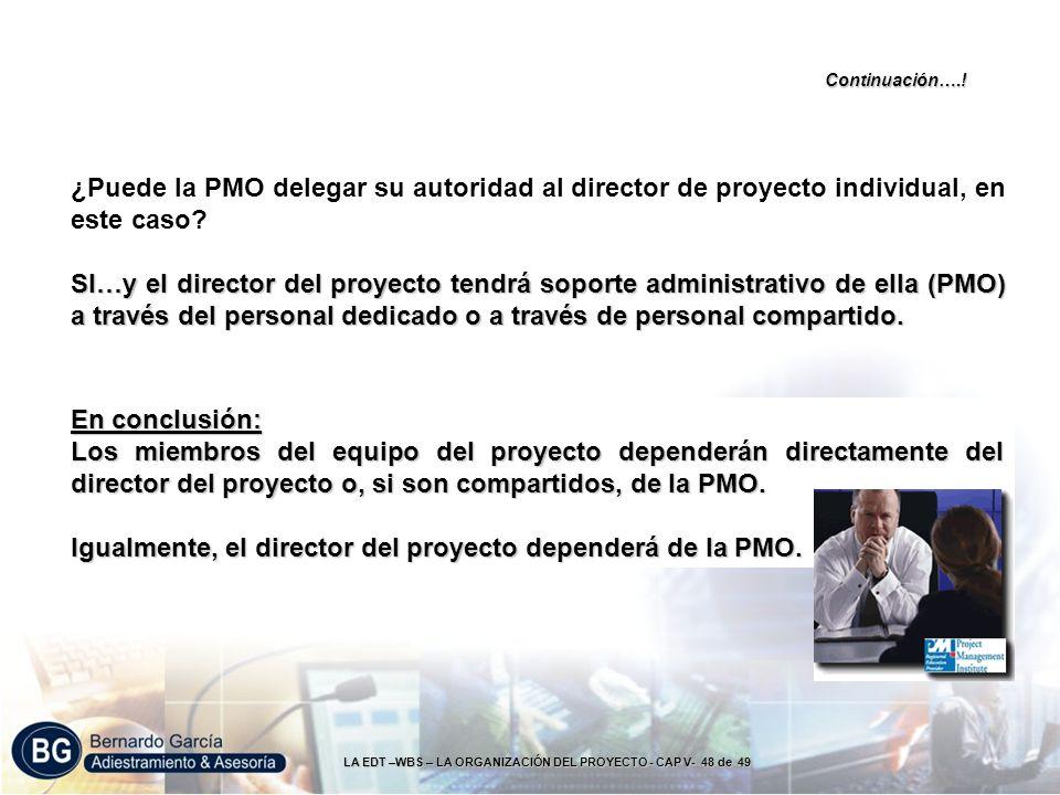 LA EDT –WBS – LA ORGANIZACIÓN DEL PROYECTO - CAP V- 48 de 49 Continuación….! ¿Puede la PMO delegar su autoridad al director de proyecto individual, en