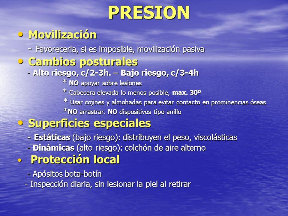 PRESION Movilización Movilización - Favorecerla, si es imposible, movilización pasiva - Favorecerla, si es imposible, movilización pasiva Cambios post