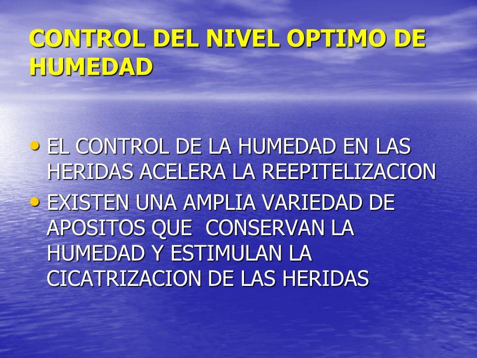 CONTROL DEL NIVEL OPTIMO DE HUMEDAD EL CONTROL DE LA HUMEDAD EN LAS HERIDAS ACELERA LA REEPITELIZACION EL CONTROL DE LA HUMEDAD EN LAS HERIDAS ACELERA