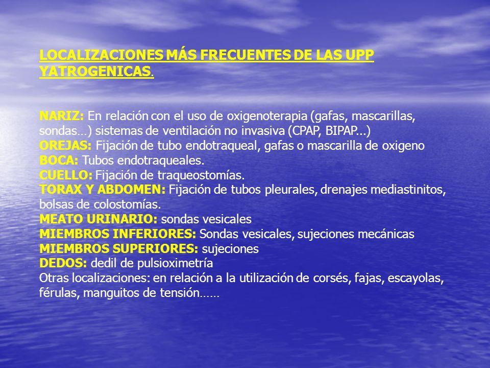 LOCALIZACIONES MÁS FRECUENTES DE LAS UPP YATROGENICAS. NARIZ: En relación con el uso de oxigenoterapia (gafas, mascarillas, sondas…) sistemas de venti