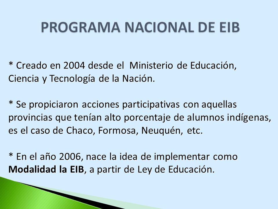* Creado en 2004 desde el Ministerio de Educación, Ciencia y Tecnología de la Nación. * Se propiciaron acciones participativas con aquellas provincias
